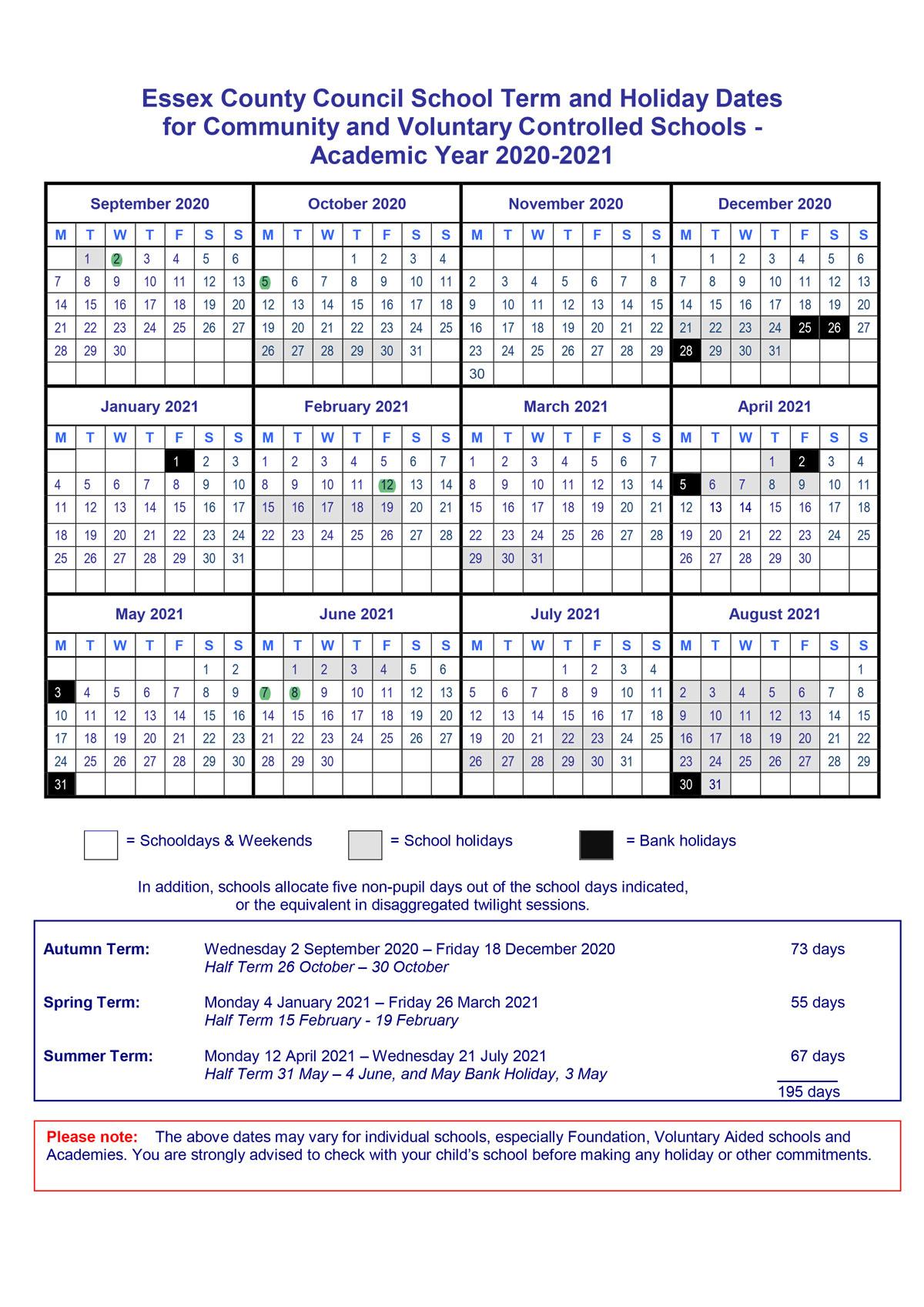 Term Dates 20 21